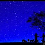 Shepherds are silhouetted against a full starry night sky.